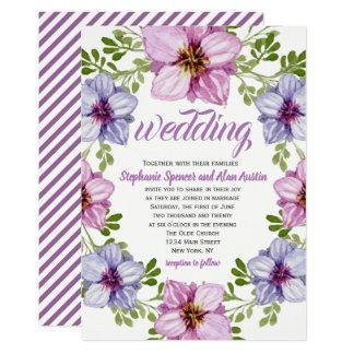 Lila rosa Blumenwreath-Hochzeits-Einladung Karte