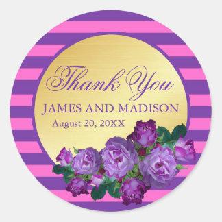 Lila, rosa, Golddanken Wedding personalisiert Runder Aufkleber