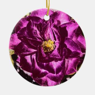 Lila Rosen- und Teddy-Bärnsonnenblumeverzierung Keramik Ornament