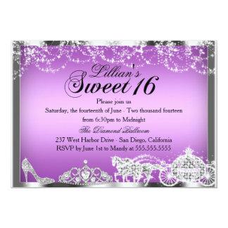Lila Schein-Prinzessin Theme Sweet 16 laden ein 12,7 X 17,8 Cm Einladungskarte