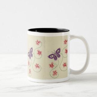 Lila Schmetterling Zweifarbige Tasse