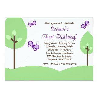 Lila Schmetterlings-Baum-Mädchen-Geburtstag 12,7 X 17,8 Cm Einladungskarte