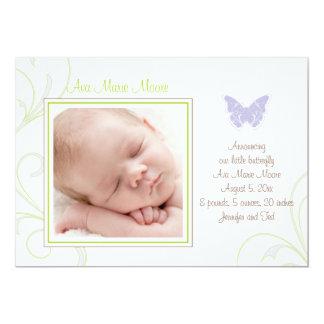 Lila Schmetterlings-Geburts-Mitteilung 12,7 X 17,8 Cm Einladungskarte