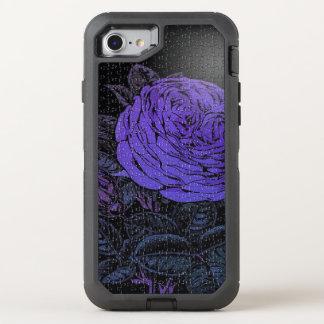Lila schwarze Puzzlespiel-Rose OtterBox Defender iPhone 8/7 Hülle