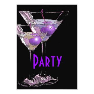 Lila schwarzes elegantes Party 12,7 X 17,8 Cm Einladungskarte