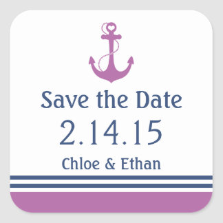 Lila See Save the Date Quadratischer Aufkleber