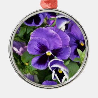 lila Stiefmütterchen Rundes Silberfarbenes Ornament