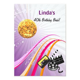 lila total Achtzigerjahre retro Party Einladung