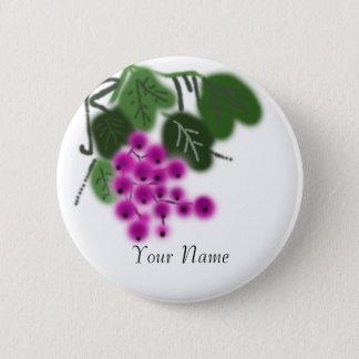 lila Trauben und Grün-Blätter Runder Button 5,7 Cm