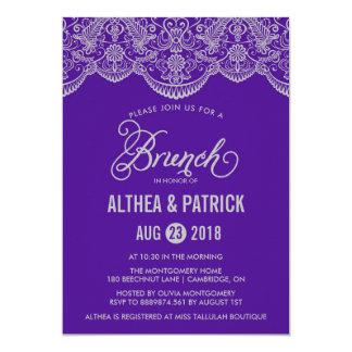Lila u. graue Brokat-Spitzebrunch-Einladung 12,7 X 17,8 Cm Einladungskarte