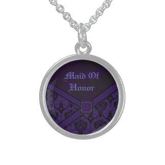 Lila u. schwarze Goth Spitze-Hochzeit Sterling Silberkette
