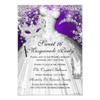Lila u. silberne Prinzessin Masquerade Sweet 16 12,7 X 17,8 Cm Einladungskarte