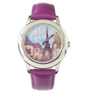 Lila Uhr Turms Paris Eiffel inspirierte