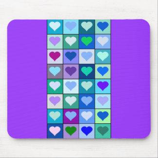 Lila und blaue Herz-Quadrate Mousepads
