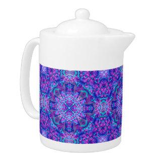 Lila und blaue Kaleidoskop-     Muster-Teekannen