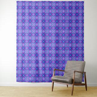 Lila und blaue Vintage Kaleidoskop-Wand-Tapisserie Wandteppich