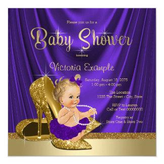 Lila und Goldhohe Fersen-Schuh-Mädchen-Baby-Dusche Karte
