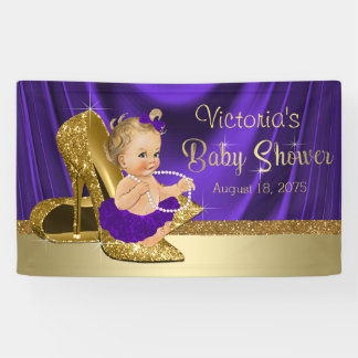 Lila und Goldmädchen-Baby-Dusche Banner