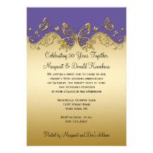 Lila und Jahrestags-Party der Goldschmetterlings-5 Individuelle Einladung