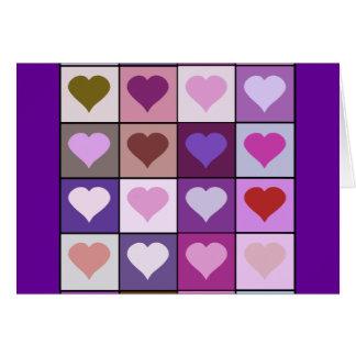 Lila und rosa Herz-Quadrate Karte
