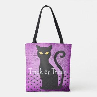 Lila und schwarze Katzen-Trick-oder