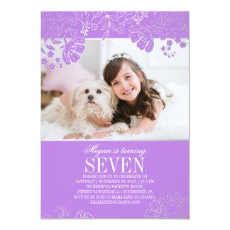 Lila und silbernes BlumenFoto-Geburtstags-Party Karte