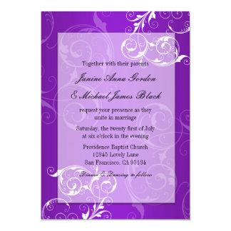Lila und weiße Hochzeitseinladung 12,7 X 17,8 Cm Einladungskarte
