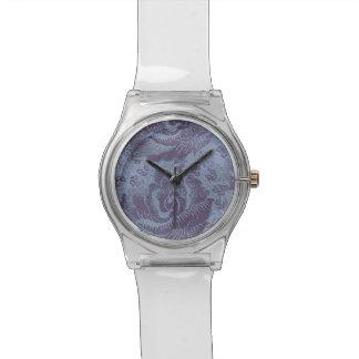 Lila Vintage Blumenmuster-Uhr Uhr