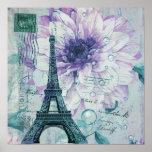 lila Vintager mit Blumenturm Paris Eiffel Poster