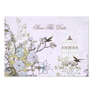 lila Vogelmit blumenkäfig, Liebevögel retten die 12,7 X 17,8 Cm Einladungskarte