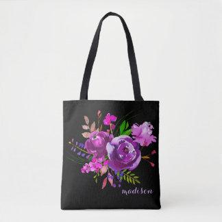 Lila Watercolor-Pfingstrosen-Blumenstrauß