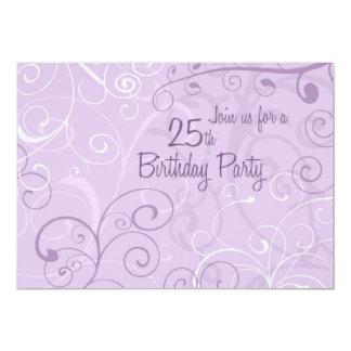 Lila Wirbels-25. Geburtstags-Party 12,7 X 17,8 Cm Einladungskarte