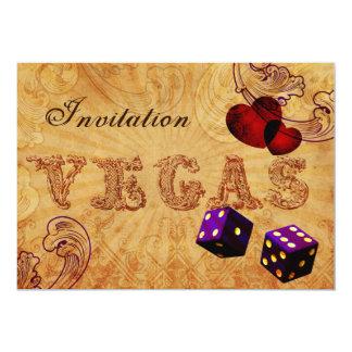 lila Würfel lädt Vintage Vegas-Hochzeit ein Personalisierte Einladung