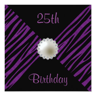 Lila Zebra-u. Perlen-25. Geburtstag Quadratische 13,3 Cm Einladungskarte