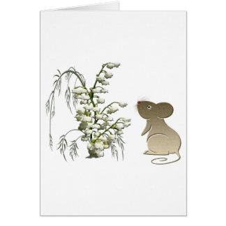 Lilie des Tales und niedlichen der Mäusekunst Mitteilungskarte