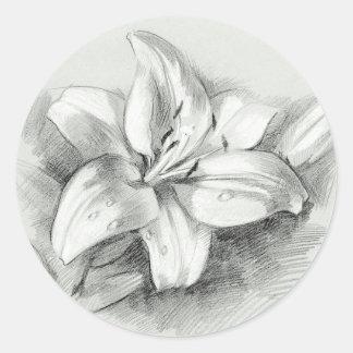 Lilie, die ringsum Aufkleber zeichnet