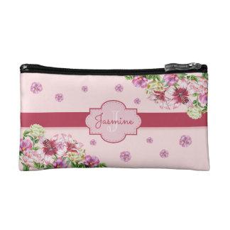 Lilien-u. Pfingstrosen-Blumenrosa Makeup-Tasche