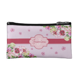 Lilien-u. Pfingstrosen-Mit Blumenlila Makeup-Tasche
