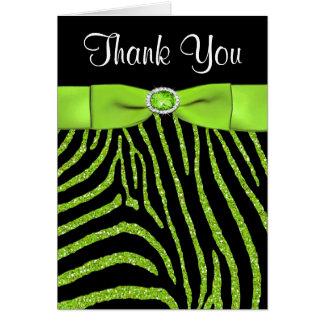 Limone das DRUCKband, schwarzer Zebra danken Ihnen Mitteilungskarte