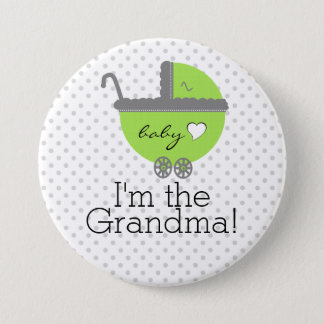 Limone grüne u. graue Polka Punkt-Baby Dusche Runder Button 7,6 Cm