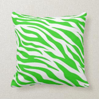 Limone grüne weiße Zebra-Streifen-wildes Kissen