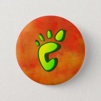 Limoner grüner Abdruck auf orange abstraktem Runder Button 5,7 Cm