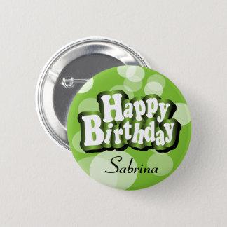 Limoner grüner Bokeh Geburtstags-Entwurf Runder Button 5,1 Cm
