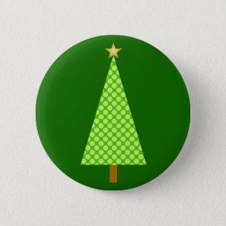Limoner grüner Polkapunkt moderner Weihnachtsbaum Runder Button 5,7 Cm