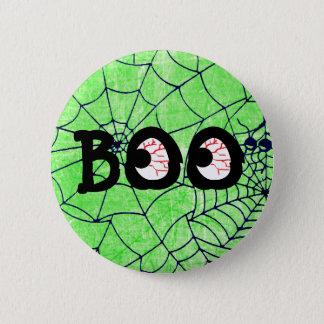 Limoner grüner und schwarzer HalloweenBoo schaut Runder Button 5,1 Cm