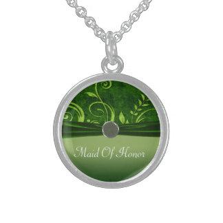 Limoner u. grüner Samt-Hochzeits-Strudel Sterling Silberkette