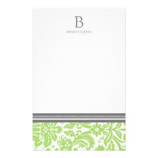 Limones Damast-Hochzeits-Monogramm-Briefpapier Personalisierte Druckpapiere