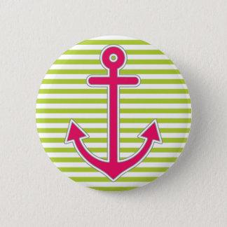 Limones Grün Stripes heißes den See Rosa-Anker Runder Button 5,1 Cm