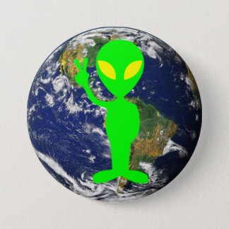 Limones grünes Friedenszeichen-alien u. Erdrunder Runder Button 7,6 Cm
