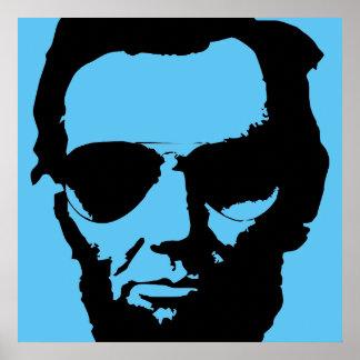 Lincoln mit Flieger-Sonnenbrille (Schwarzes) Poster